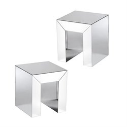 Southern Enterprises Schiaparelli 2 Piece Accent Table in Silver