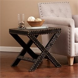 Southern Enterprises Reptilian Nailhead X Accent Table in Black
