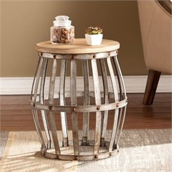 Southern Enterprises Mencino Accent Table in Weathered Fir and Silver