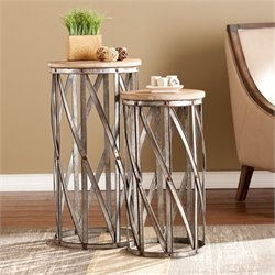 Southern Enterprises Mencino 2 Piece Accent Table Set in Fir and Metal