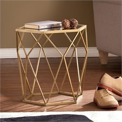 Southern Enterprises Joelle Geometric Accent End Table in Gold