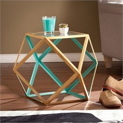 Southern Enterprises Jenna Geometric Accent Table in Gold and Teal