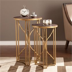 Southern Enterprises Alaina 2 Piece Accent Nesting Table Set in Gold