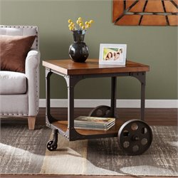 Southern Enterprises Owen Industrial Accent Table in Oak