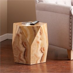 Southern Enterprises Roxbury Faux Stone Accent Table in Tan Marble