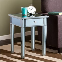 Southern Enterprises Mirage Colored Mirror Accent Table in Blue