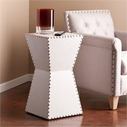 Southern Enterprises Warrington Faux Leather Accent End Table in White