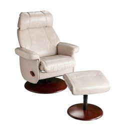 Southern Enterprises Swivel Glider Recliner with Ottoman in Taupe