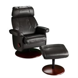 Southern Enterprises Swivel Glider Recliner with Ottoman in Black