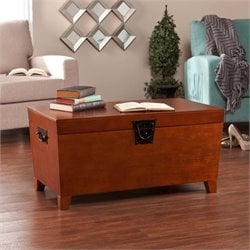 Southern Enterprises Pyramid Storage Trunk Coffee Table in Mission Oak