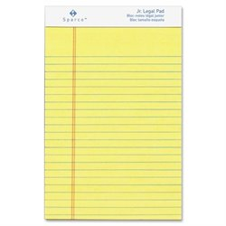 Sparco Junior Legal-Ruled Canary Writing Pads