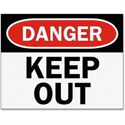 Tarifold Danger Keep Out Magneto Sign Insert