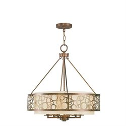 Livex Avalon Chandelier in Palacial Bronze with Gilded Accents