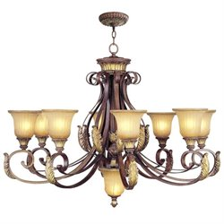Livex Villa Verona Chandelier in Verona Bronze with Aged Gold Leaf Accents