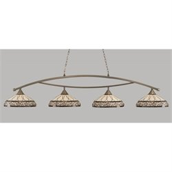 Toltec Bow 4 Light Bar in Brushed Nickel with 16