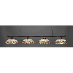 Toltec Oxford 4 Light Bar in Bronze with 16