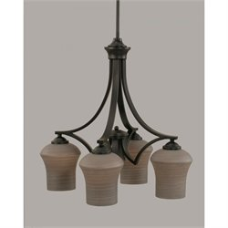 Toltec Zilo 4 Light Chandelier in Matte Black with 5.5