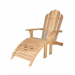 Anderson Teak Adirondack Chair With Ottoman in Natural