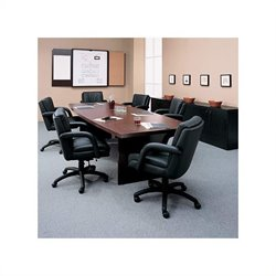 Global Total Office Boat Shaped 8' Conference Table with Slab Base - Mahogany