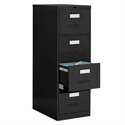 Global Office 4 Drawer Vertical Metal File Cabinet - Black