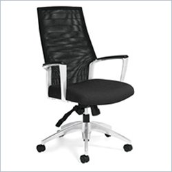 Global Accord Mesh High Back Tilter Office Chair in Black Coal