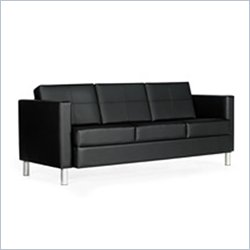 Global Citi Three-Seater Sofa in Black Mock Leather
