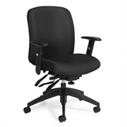 Global Truform Medium Back Multi Tilter Office Chair with Arms in Ebony