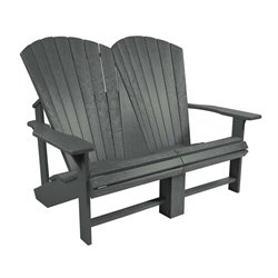 CR Plastic Generations Adirondack Loveseat in Slate Gray