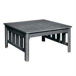 CR Plastic Stratford Square Patio Coffee Table in Slate Gray