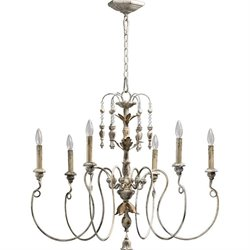 Quorum Salento 6 Light Up Chandelier in Persian White