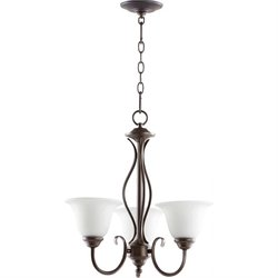 Quorum Spencer 3 Light Chandelier in Oiled Bronze and Satin Opal