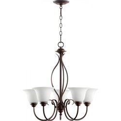 Quorum Spencer 5 Light Chandelier in Oiled Bronze and Satin Opal