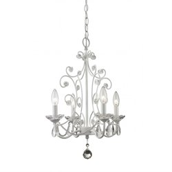 Z-Lite Princess 4 Light Mini Chandelier in Gloss White