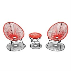 Harmonia Living Acapulco 3 Piece Patio Bistro Set in Atomic Tangerine
