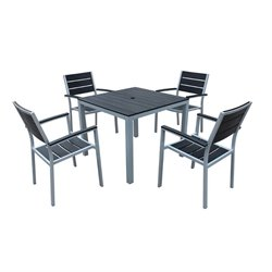Harmonia Living Brasserie 5 Piece Square Patio Dining Set with Arms