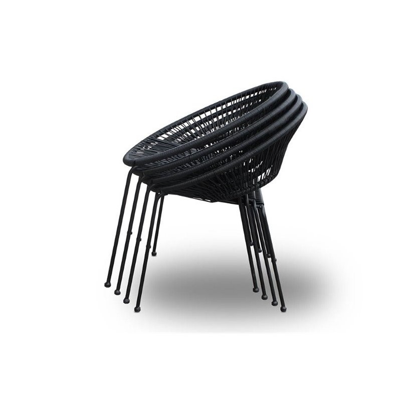 Harmonia Living Acapulco Patio Dining Chair in Jet Black