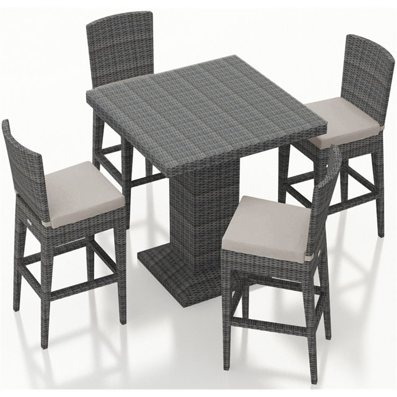 Harmonia Living District 5 Piece Patio Pub Set in Cast Silver