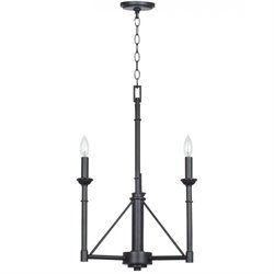 Cal Lighting Three Light Chandelier in Industrial Bronze