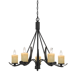 Cal Lighting Metal Chandelier in Black Smith