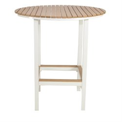 Patio Heaven Riviera Round Patio Pub Table in White