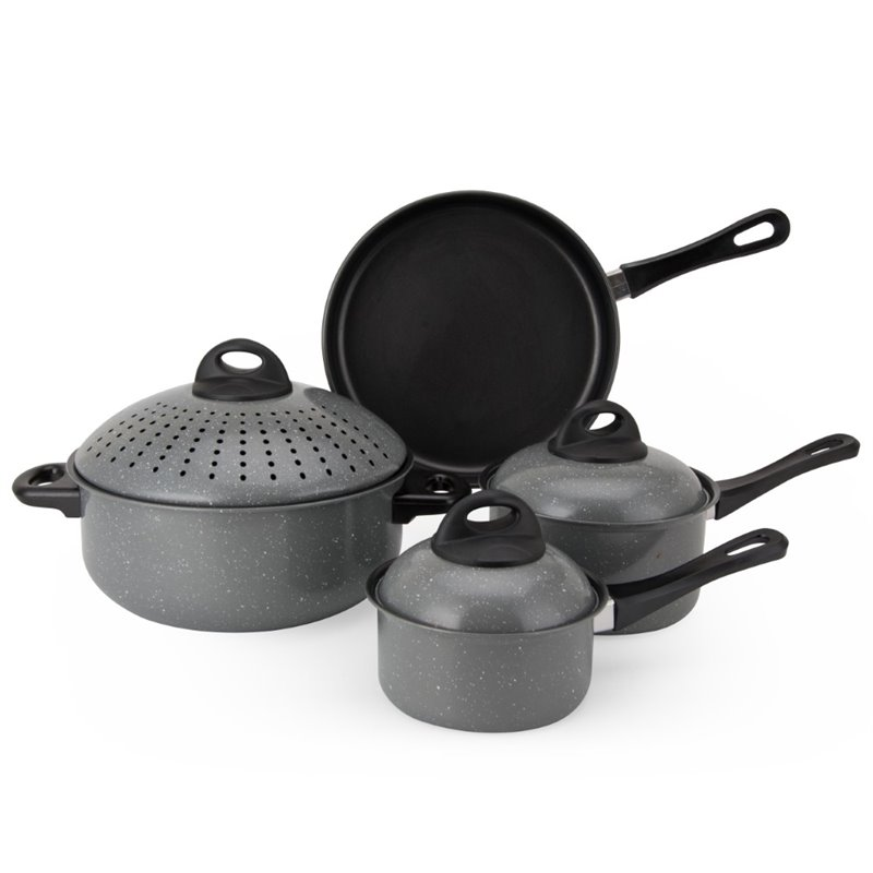 Alpine cuisine 7 piece carbon steel cookware set in gray for Art cuisine cookware