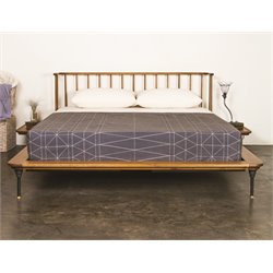 Nuevo Distrikt King Platform Spindle Bed in Hard Fumed