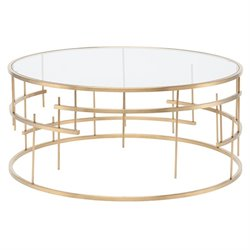 Nuevo Tiffany Round Glass Top Metal Coffee Table