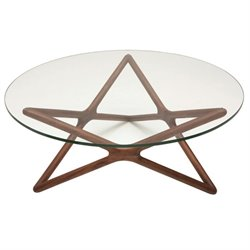 Nuevo Star Round Glass Top Coffee Table in Tan