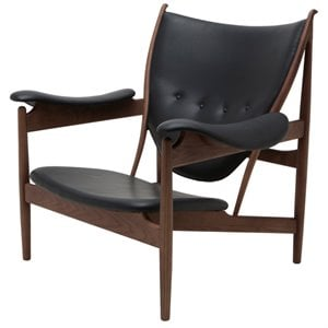 Nuevo Grande Leather Accent Chair in Walnut and Black