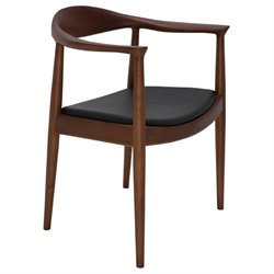 Nuevo Johan Leather Dining Arm Chair in Black and Walnut