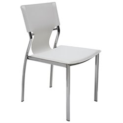 Nuevo Lisbon Leather Dining Side Chair in White