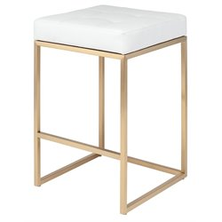 Nuevo Chi Faux Leather Counter Stool in White and Gold