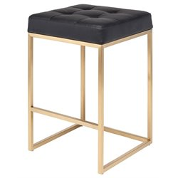 Nuevo Chi Faux Leather Counter Stool in Black and Gold