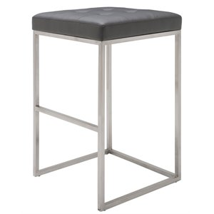 Nuevo Chi Faux Leather Bar Stool in Gray